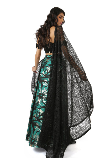 Harleen Kaur KRITA Checkered Floral Lace Dupatta in Black