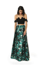 ANNA Black Lehenga Crop Top with Off-the-Shoulder Black Floral Trim | HARLEEN KAUR