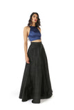 VIDYA navy stretch satin racerback crop top with triangle ring | HARLEEN KAUR
