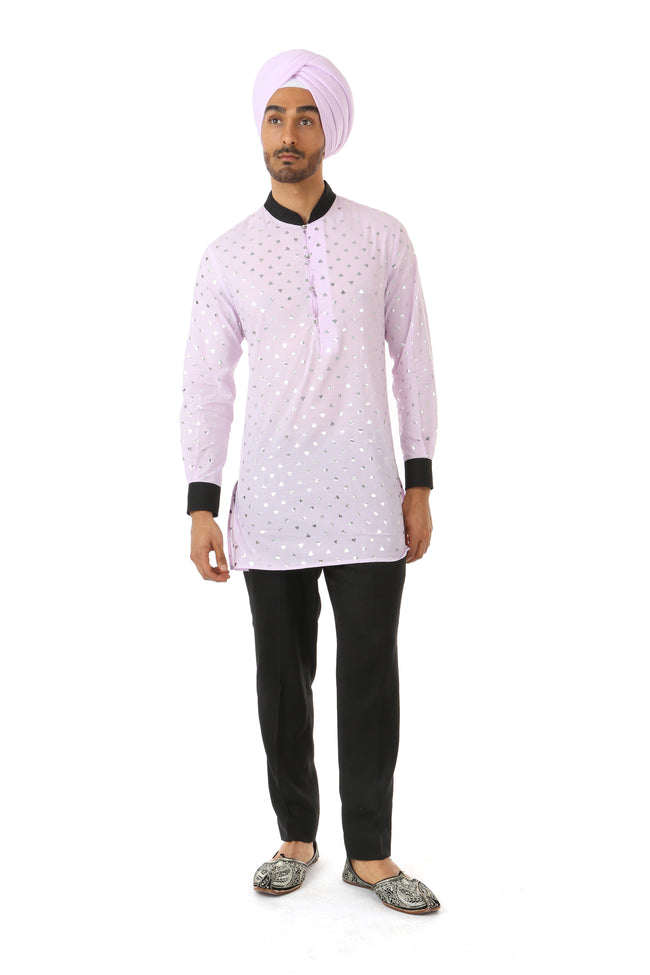 SUMEET Mens Long Sleeve Cotton Kurta in Lavender/silver hearts with contrasting cuffs and collar | HARLEEN KAUR