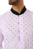 SUMEET Mens Long Sleeve Cotton Kurta in Lavender/Silver hearts with contrasting black collar - Front View Detail | HARLEEN KAUR