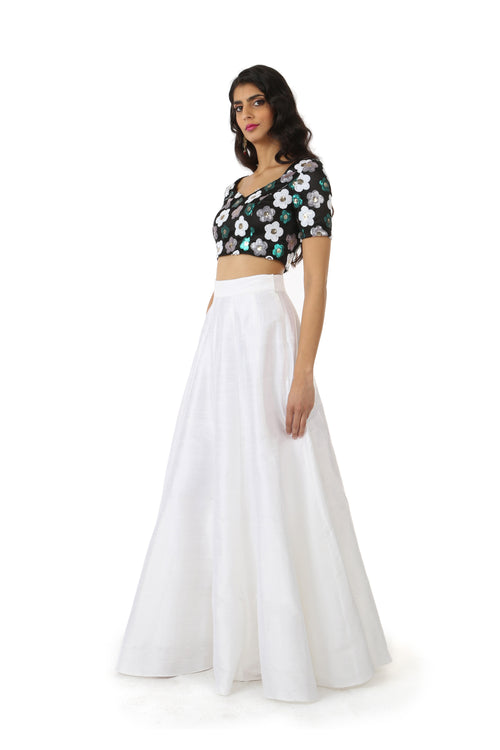 Harleen Kaur SANYA Black Sequin Crop Top with White, Green, and Silver Flowers