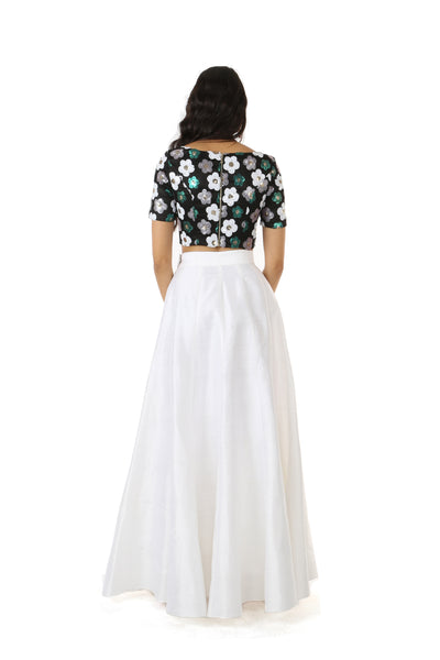 Harleen Kaur SANYA Black Sequin Crop Top with White, Green, and Silver Flowers - Back View
