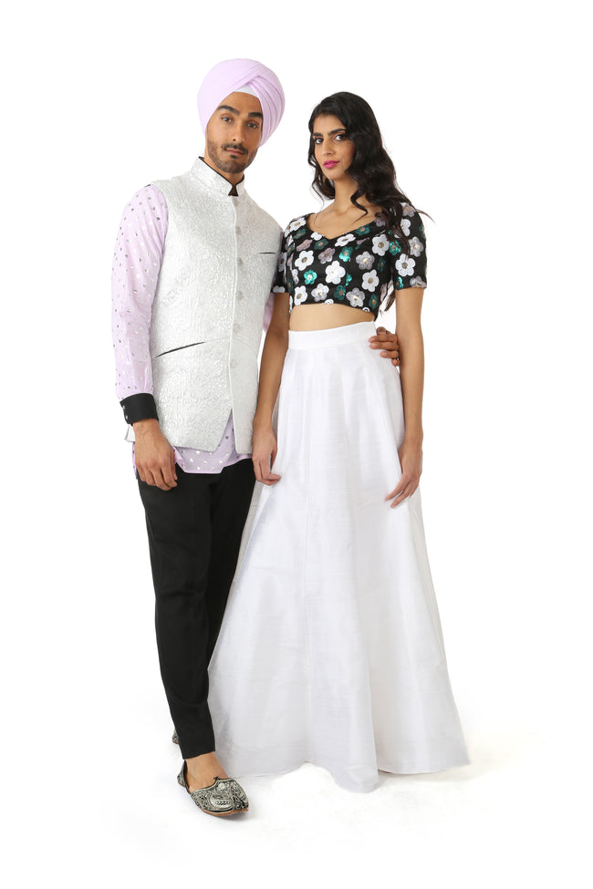 Harleen Kaur SANYA Black Crop Top with White, Green, and Silver Sequin Flowers
