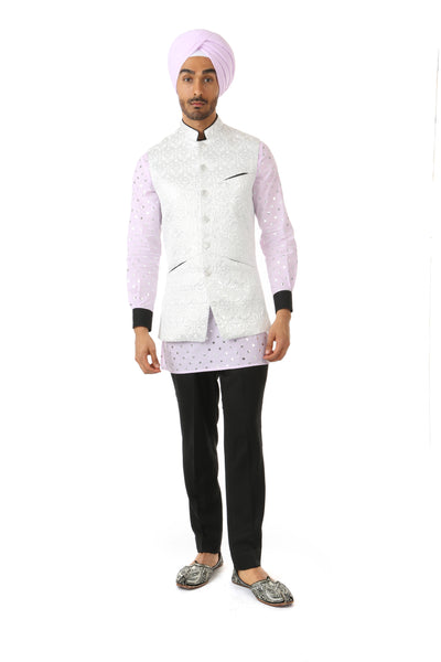Harleen Kaur ARJUN Silver Vest with Black Piped Mandarin Collar - Front View