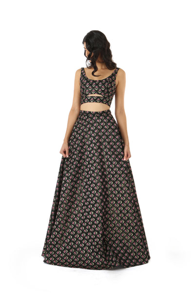 ANEELA Dark Full Length Lehenga Skirt with Gold and Pink Flowers - Front View | HARLEEN KAUR
