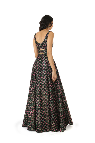 ANEELA Dark Lehenga Skirt with Metallic Gold and Pink Flowers - Back View | HARLEEN KAUR