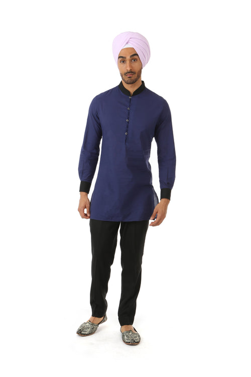 Harleen Kaur SUMEET Colorblock Collar Shirt in Navy and Black - Front View