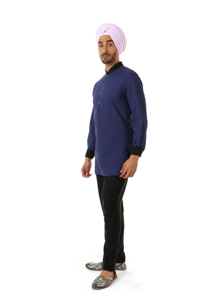 Harleen Kaur SUMEET Colorblock Collar Shirt in Navy and Black - Side View