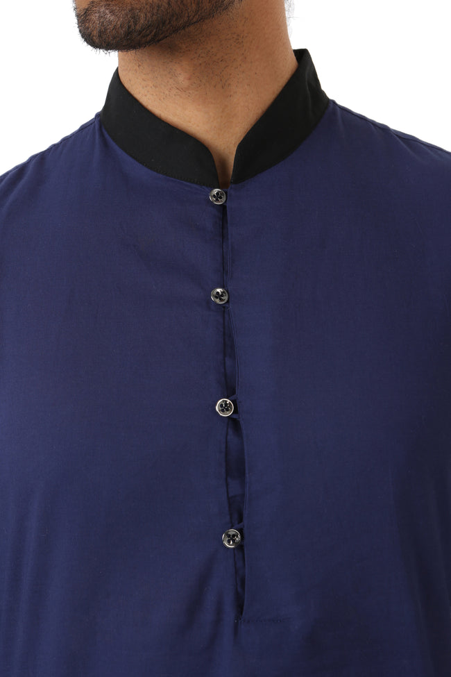 Harleen Kaur SUMEET Colorblock Collar Cotton Kurta in Navy and Black - Front View