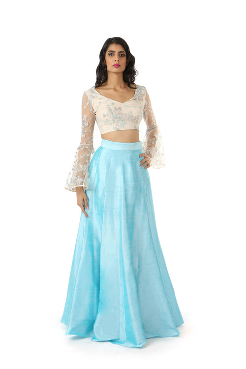 ROSE metallic lace crop top with flared bell sleeves | HARLEEN KAUR