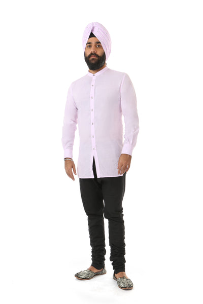 Harleen Kaur Justin Long Sleeve Cotton Button Up Shirt - Lavender Front