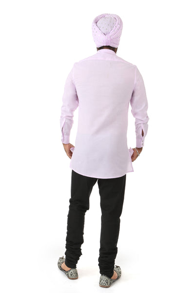 Harleen Kaur Justin Slim Long Sleeve Cotton Shirt - Lavender Back