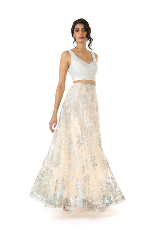 DIVYA Metallic Lace Lehenga Skirt - Front View - HARLEEN KAUR - South Asian Womenswear