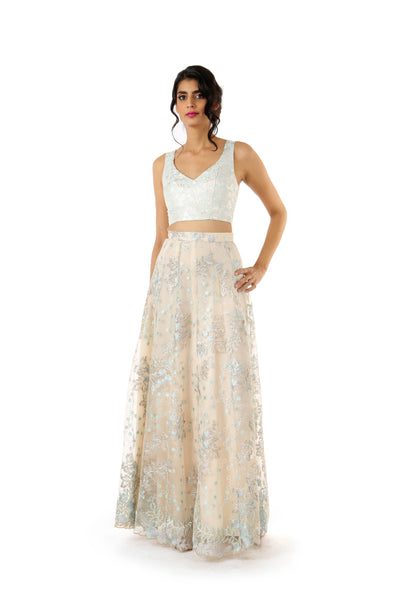 SONIA Sleeveless Aqua/Gold Metallic Jacquard Crop Top - Front View | HARLEEN KAUR