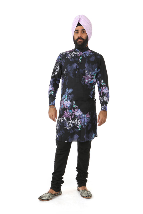 Harleen Kaur Raaya Long Sleeve Cotton Kurta - Black Floral Print Front View