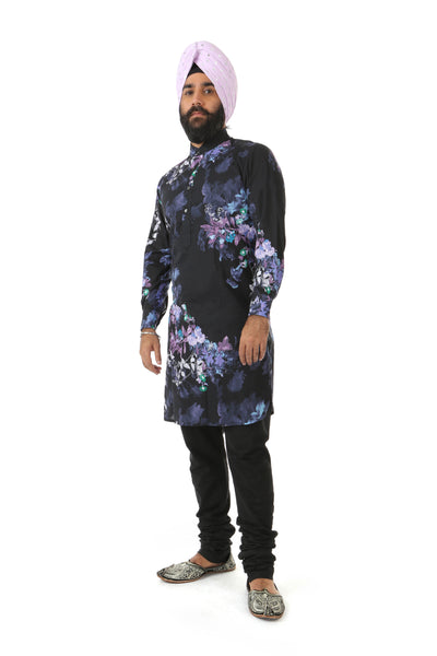Harleen Kaur Raaya Long Sleeve Floral Cotton Kurta - Black Floral Print Side View