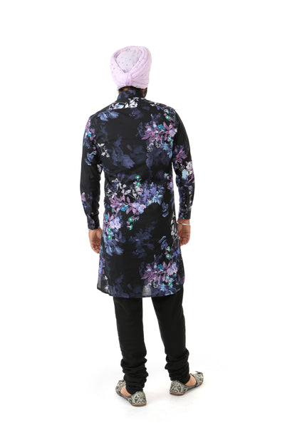 Harleen Kaur Raaya Long Sleeve Cotton Kurta - Black Floral Print Back View