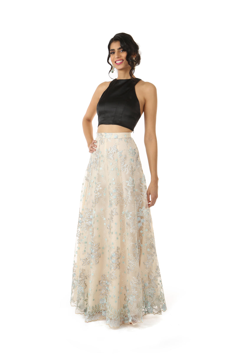 DIVYA Metallic Lace Lehenga Skirt with Vidya Crop Top in Black | HARLEEN KAUR
