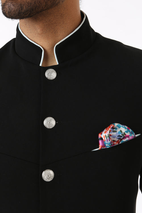 Harleen Kaur Mens Multi Coral Firework Pocket Square