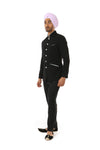 Harleen Kaur NAHM Mens Black Jodhpuri Jacket with Aqua Satin Lining - Side View