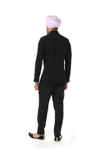 Harleen Kaur NAHM Mens Black Jodhpuri Jacket - Back View