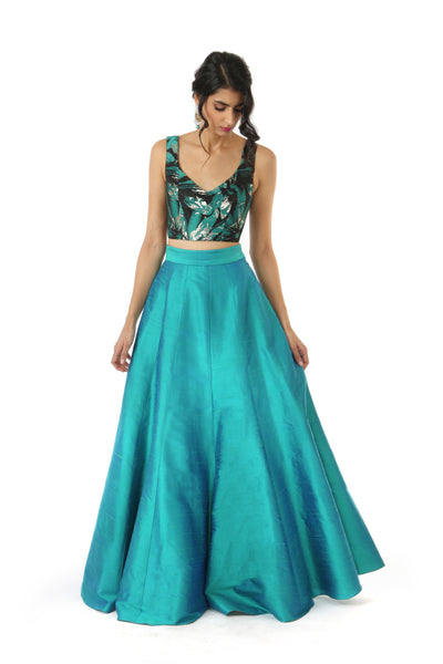 Harleen Kaur SONIA Black/Green/Gold Floral Metallic Jacquard Lehenga Crop Top - Front View