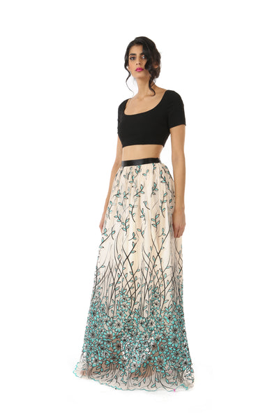 RIVA black stretch woven crop top | HARLEEN KAUR
