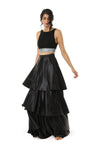 Harleen Kaur Layla Black Satin Tiered Skirt - Front View