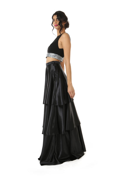 Harleen Kaur Julia Stretch Open Back Top with Floral Sequin Trim - Black Side