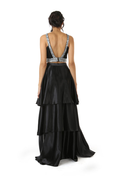 Harleen Kaur Layla Black Multi Tiered Satin Skirt - Back View