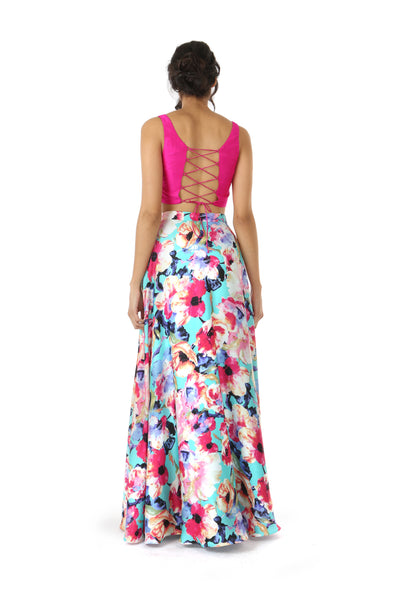 HAILEY Slit Satin Lehenga Skirt in Teal Multi Floral Print - Back View | HARLEEN KAUR