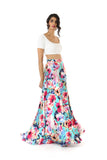 HAILEY Slit Satin Lehenga Skirt in Teal Multi Floral Print - Side View | HARLEEN KAUR