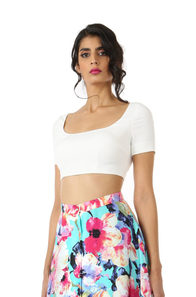 RIVA white stretch woven lehnga crop top | HARLEEN KAUR