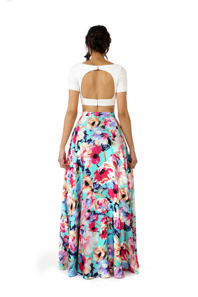 RIVA white stretch woven lehenga crop top with open back | HARLEEN KAUR