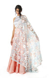 ANEETA Floral Lace Dupatta in Frosted Colors with Silver Trim | HARLEEN KAUR
