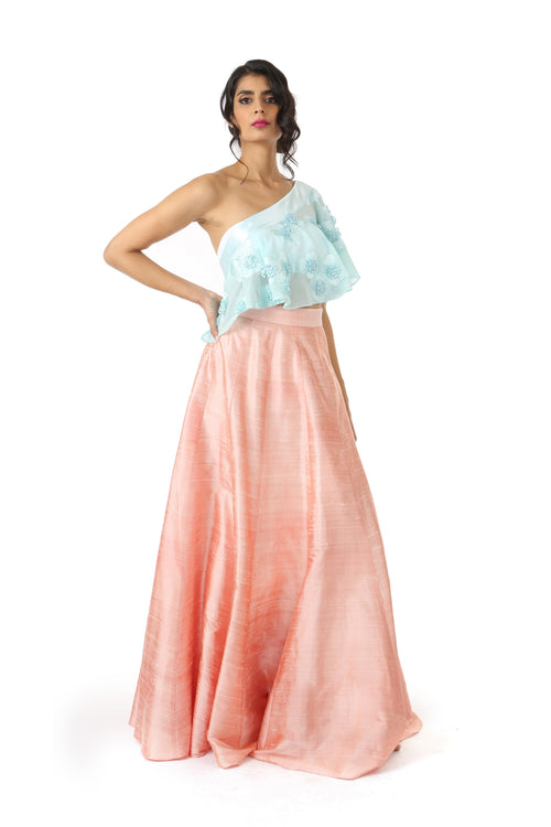 BINA Aqua 3D Floral Georgette Satin One Shoulder Top - Front View | HARLEEN KAUR