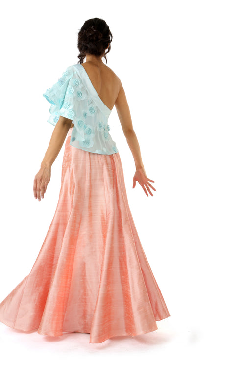 BINA Aqua 3D Floral Georgette Satin One Shoulder Top - Side View | HARLEEN KAUR