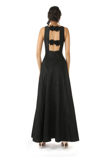 Harleen Kaur Sarina Silk Gown with Open Back Floral Closure - Back View
