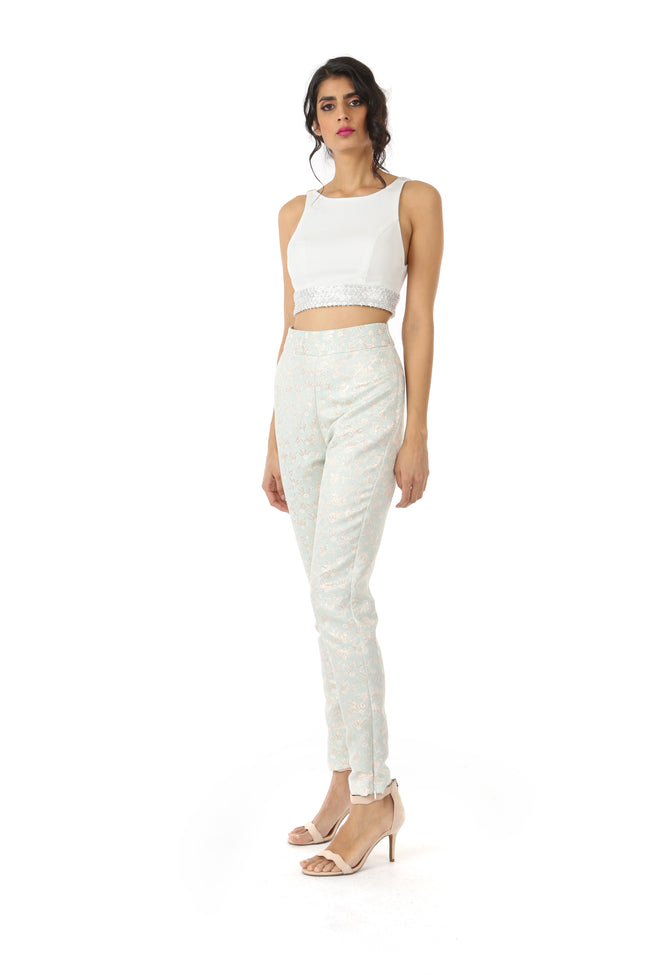 Harleen Kaur Julia Stretch Open Back Top with Floral Sequin Trim - White Front