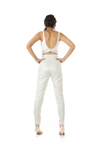 Harleen Kaur Julia Stretch Open Back Top with Floral Sequin Trim - White Back View