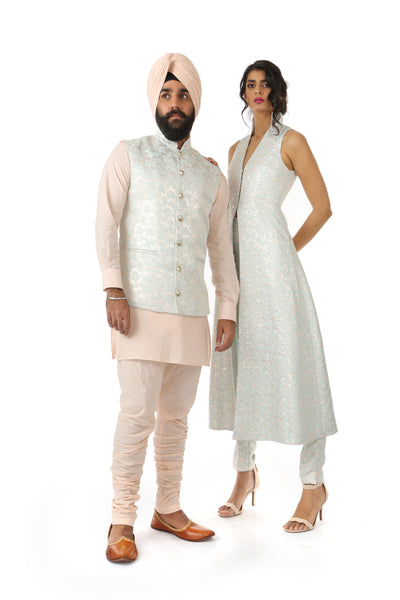 Harleen Kaur Chand Sleeveless Duster Coat with Hidden Side Pockets in Aqua/Gold Pattern - Front View