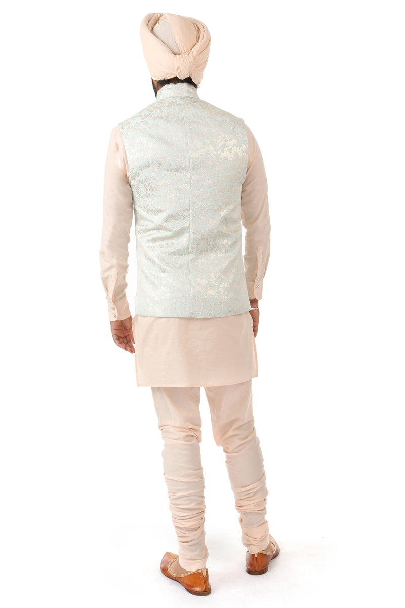 Harleen Kaur Mirat Vest in Soft Aqua and Gold Patterns - Back View