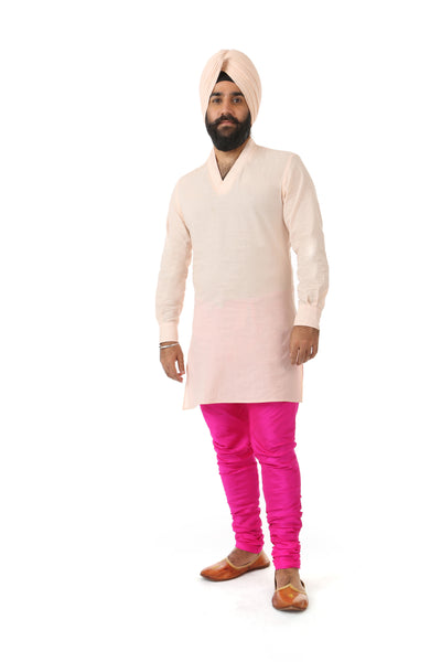 Harleen Kaur Mens Carter V-Neck Carter Shirt with Long Sleeves - Peach Front View