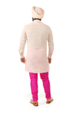 Harleen Kaur Mens Carter V-Neck Long Sleeve Kurta - Peach Back View