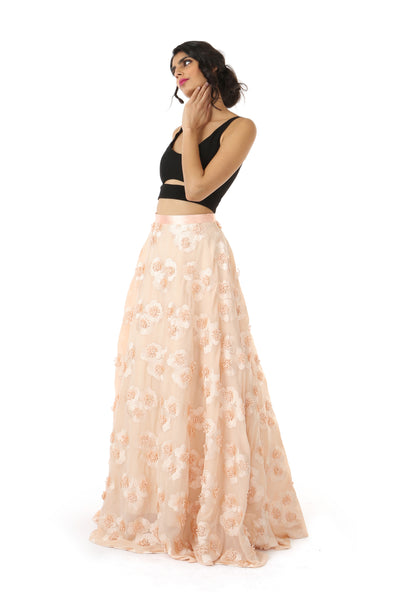 ANEELA Peach Satin Can-Can Lehenga Skirt with Black SIMAR Crop Top - Front View | HARLEEN KAUR