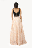 ANEELA Peach Can-Can Satin Lehenga Skirt with 3D Flowers - Back View | HARLEEN KAUR