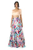 ANISHA Floral Print Lehenga Skirt in Teal Floral Multi Satin - Front View | HARLEEN KAUR