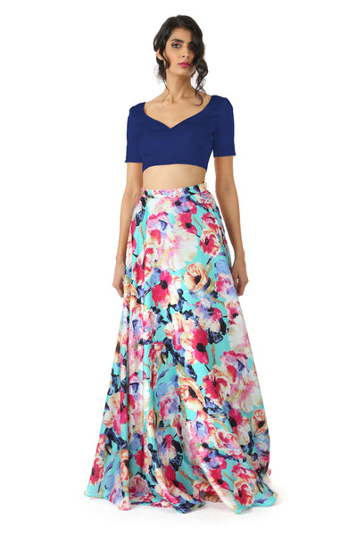 Harleen Kaur SANYA Peach Satin Lehenga Crop Top with Sweetheart Neckline - Navy Blue