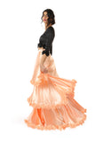 Harleen Kaur Layla Multi Tiered Satin Skirt with Floral Trim - Peach Side View